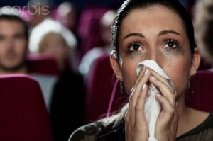 Woman crying at the movies
